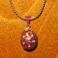 Genuine Russian Necklace ENAMEL Swarovsky Crystals PINK MAGENTA GOLD EGG pendant