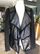anthropologie elevenses Women Medium Black Faux Leather Draped Button Jacket