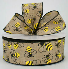 """1.5"""" / 2.5"""" Wired ribbon yellow Bumble bee beige canvas spring 5yds Choose Width"""
