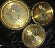 Antique Foil Tin Hand Painter Lot Of 3 Brass Rare Floral Plates