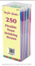 200+ 50 Neon Flexible Bendy Birthday Party Drinking Straws Assorted Coloured