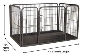 Metal Heavy Duty Whelping Tray Puppy Dog Play Pen Size Xlarge With Plastic Floor