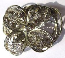 Super broche vintage plaqué argent bijou ancien finement ciselée filigrane 3508