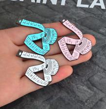 Measuring Tape Lapel Pin ~ Pink, Blue or White Enamel Brooch Sewing Badge Pin