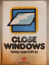 """Poster 1976 CLOSE WINDOWS keep warm in Department of Energy SAVE IT 15x10"""""""