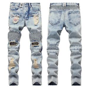 Men Stretch Ripped Skinny Jeans Distressed Frayed Slim Fit Biker Denim Pants US