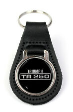 Triumph TR250 Text Logo Quality Black Leather Keyring
