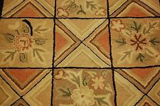 DETAILED SEMI ANTIQUE AERICAN HOOKED RUG 2.10x4.8 WOOL HAND HOOKED ON COTTON