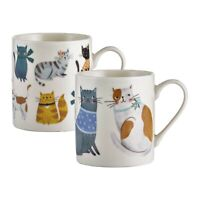 Set of 2 Cosy Cats Design Fine China Mugs Coffee Tea Hot Chocolate Drinking Cups