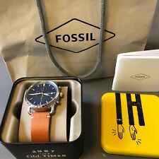 Mens Fossil watche leather strap