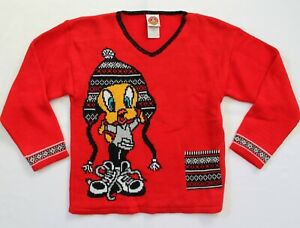 Vintage 1999 WB Looney Tunes Tweety Red Knit Sweater Long Sleeve Size 7/8