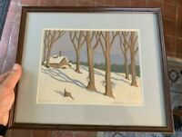 "Signed Ella Fillmore Lillie (Listed 1884-1972) Woodblock Print ""Sugar House"""