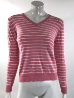 Lands End Womens Sweater Size XS Pink White Striped V Neck Long Sleeve Pullover
