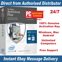 McAfee Antivirus Plus 2019 Unlimited Devices - 1 Year KEY - Instant eBay Message