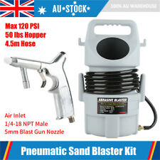 Pneumatic Sand Blaster Set 120psi Sandblasting Gun 15ft Hose 50 Lb. Hopper