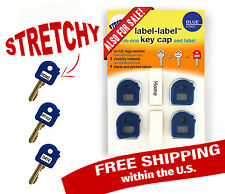 label label KEY CAP - STRETCHY - 8 pack DARK BLUE + Blank and Printed Labels
