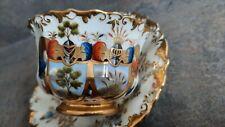 aus Adelsbesitz uralte bemalte Doppel Wappen Hochzeit Tasse blaue Strichmarke