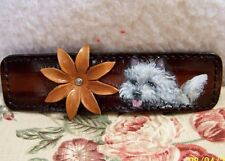 hand painted Cairn Terrier genuine leather flower bracelet bendable to fit