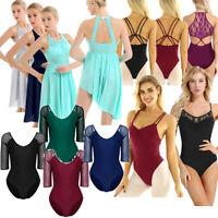 Women Girl Lyrical Ballet Yoga Dress Dance Leotard Bodysuit Gymnastics Skate UK