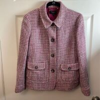 Talbots Womens Blazer Berry White Wool Blend Tweed Button Up Jacket 10
