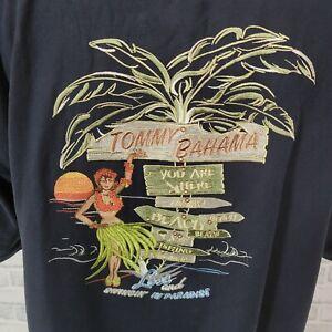 Tommy Bahama Mens XL Black Embroidered Hula Girl Aloha Camp Shirt Luau Tiki