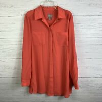 Chico's Women's Blouse Button Down Long Sleeves Career Top Size Small