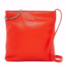 NWT $318 Furla Julia Chain Small Leather Crossbody Bag Arancio A  Italy