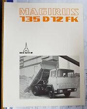 PROSPEKT MAGIRUS DEUTZ MAGIRUS 135 D 12 FK FRONTLENKER 3 SEITENKIPPER TECH DATEN