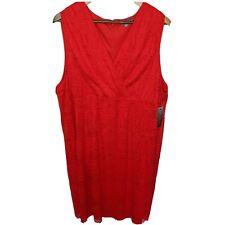 Sharagano Red Lace Overlay Dress 22W Sleeveless Surplice V-Neck Plus Size New