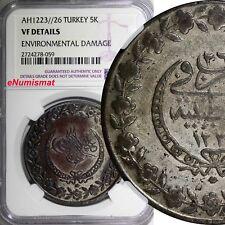 Turkey OTTOMAN EMPIRE Silver AH1223 Yr.26 1833/4 5 Kurush NGC VF DETAILS KM# 599