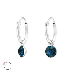 925 Sterling Silver Hoop Sleeper Earrings with Montana Crystal