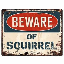 PP1332 Beware of SQUIRREL Plate Rustic Chic Sign Home Room Store Decor Gift