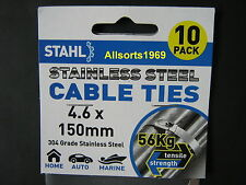 STAINLESS CABLE TIES STAINLESS STEEL * 150mm x 4.6mm * 10 PACK *