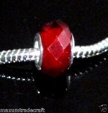 10pcs Rosso scuro Vetro Crystal Charm Perline FIT europeo Serpente Catena