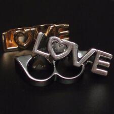 Anello LOVE AMORE DOPPIO ANELLO MASSICCIO vintage doppio due dita anello argento-colorate