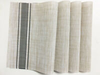 Placemats PVC Woven Washable Heat Resistant Dinner Table Mats Beige Set of 4