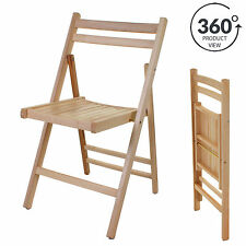 4x Folding Wooden Chair Indoor Outdoor Natural Slatted Home Office Party Spare