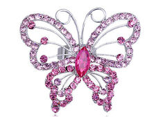 Lady Butterfly Widespread Wing Fly Design Pink Rose Crystal Rhinestone Ring
