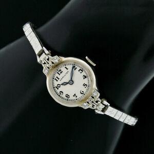 Antique Art Deco Hamilton 14k Gold 17j Ladies' Watch Etched Floral Bracelet 995A