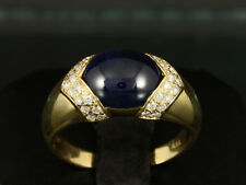 Saphir Cabochon Brillant Ring ca. 5,36ct   750/- Gelbgold große Ringweite 59