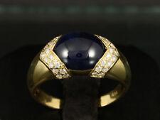 Saphir Cabochon Brillant Ring ca. 5,36ct   750/- Gelbgold große Ringweite 59