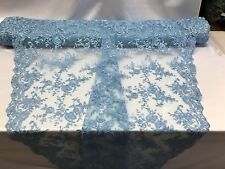 Lace Fabric Bridal Flower/Floral Embroidered Mesh Baby Blue Wedding By The Yard