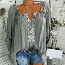 Boho Women Summer Plain Shirt Top Long Sleeve Blouse Gypsy Beach T-Shirt UK 8-22