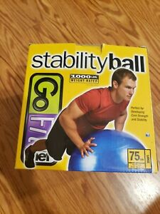 Stability Ball GoFit Large 75cm Blue 1000Lbs Weight Rated New With Pump Unisex.