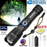 Tactical XHP50 Flashlight Torch 5Modes Zoomable LED USB Rechargeable AAA 26650