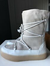 Zara Designer Ladies Women Cream Beige Leather Ankle Calf Shoe Boot Size 5 38