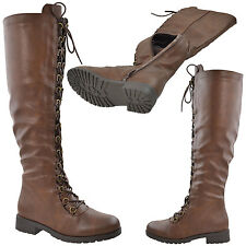 2e9b82748449 Womens Knee High Boots Lace Up Combat Faux Leather Block Heels Motorcycle  Shoes