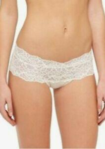 Xhilaration Womens Boyshort Size L XL Wide Lace Cheeky Almond Cream Panties NWT