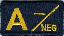 Navy Coast Guard Blue Yellow Blood Type A- Negative Patch VELCRO® BRAND Hook Fas