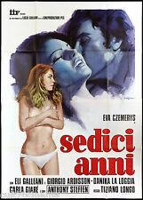 SEDICI ANNI MANIFESTO CINEMA TIZIANO LONGO EROTICO 1974 SIXTEEN MOVIE POSTER 4F